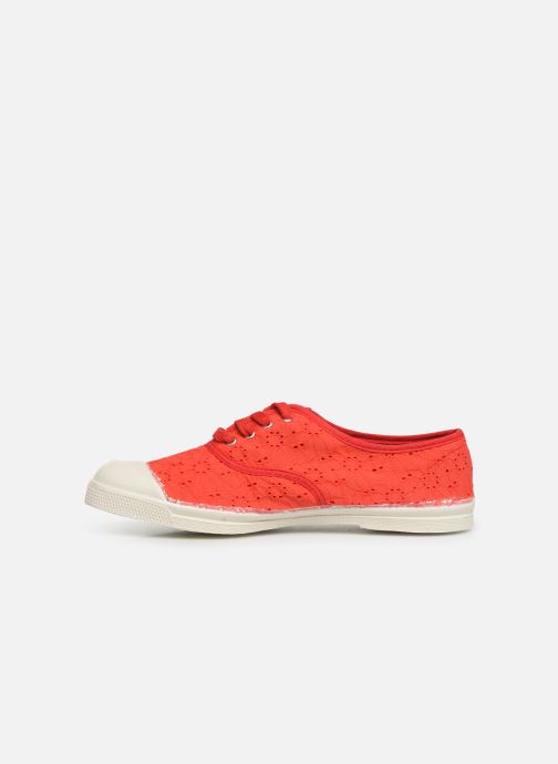 Baskets Bensimon Tennis Lacet Broderie Anglaise Rouge vue face