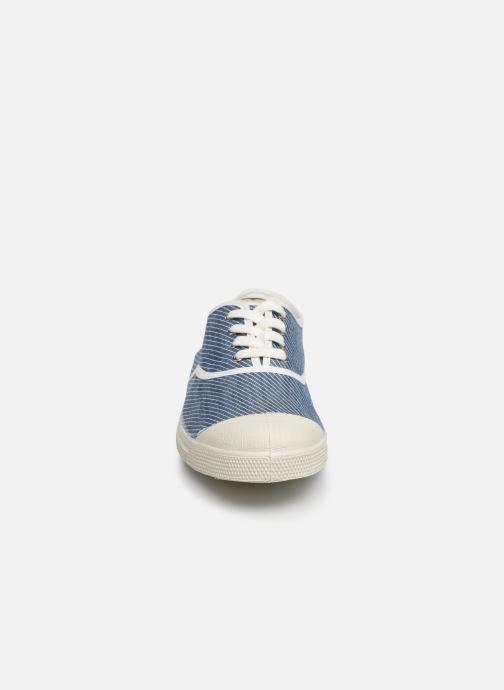 Sneakers Bensimon Tennis Lacet Denim Raye Azzurro modello indossato