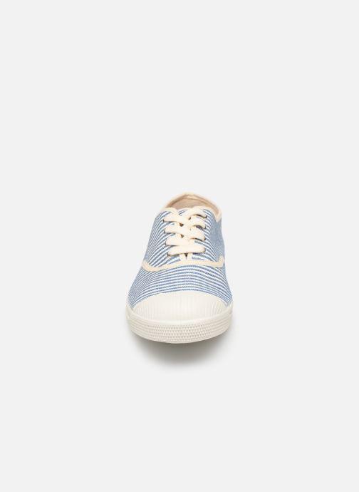 Baskets Bensimon Tennis Lacet Raye Bleu vue portées chaussures