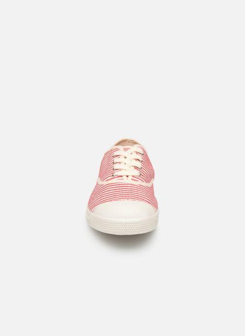 Baskets Bensimon Tennis Lacet Raye Rouge vue portées chaussures