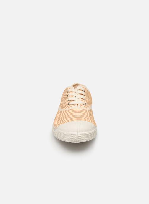 Baskets Bensimon Tennis Lacet Raye Jaune vue portées chaussures