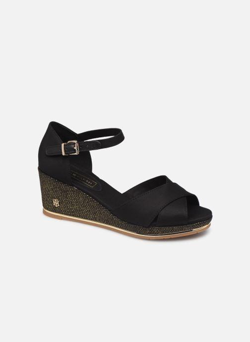 Sandaler Tommy Hilfiger FEMININE MID WEDGE SANDAL BASIC Sort detaljeret billede af skoene