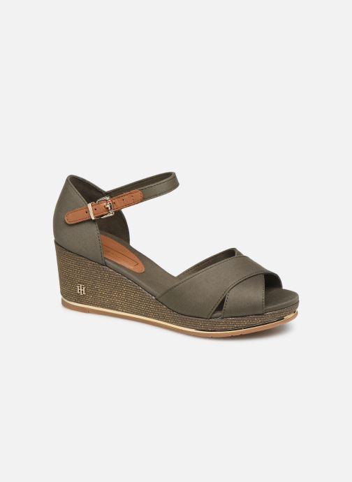 Sandaler Tommy Hilfiger FEMININE MID WEDGE SANDAL BASIC Grøn detaljeret billede af skoene