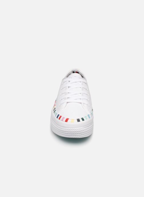 Baskets Tommy Hilfiger Rainbow platform sneaker Blanc vue portées chaussures