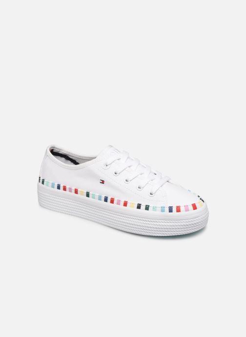 Baskets Tommy Hilfiger Rainbow platform sneaker Blanc vue détail/paire