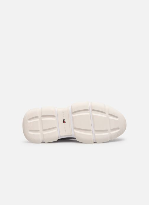 Baskets Tommy Hilfiger CHUNKY LEATHER TRAINER Blanc vue haut