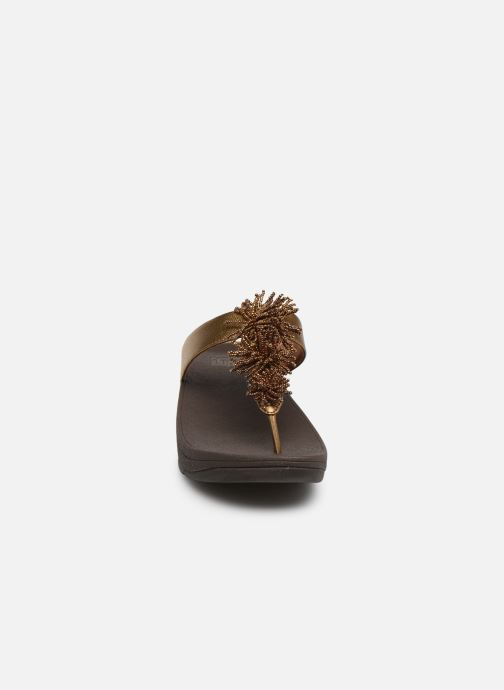Mules & clogs FitFlop Fino Bead Pompom Bronze and Gold model view