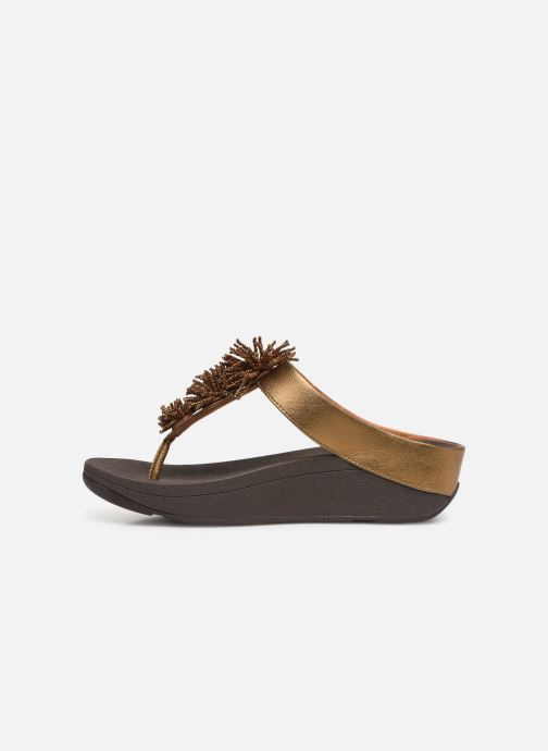 Mules & clogs FitFlop Fino Bead Pompom Bronze and Gold front view