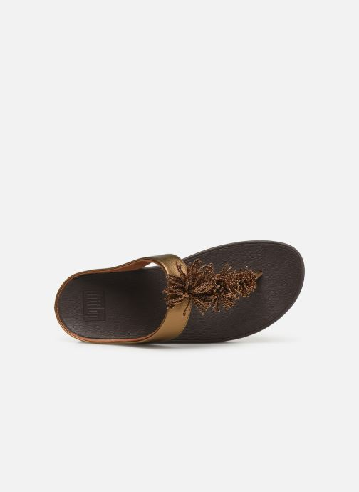 Mules & clogs FitFlop Fino Bead Pompom Bronze and Gold view from the left