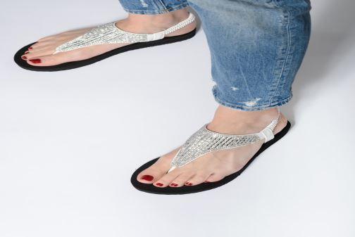 Sandals Skechers Meditation Rock Crown Black view from underneath / model view