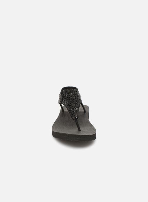 Sandales et nu-pieds Skechers Meditation Rock Crown Noir vue portées chaussures