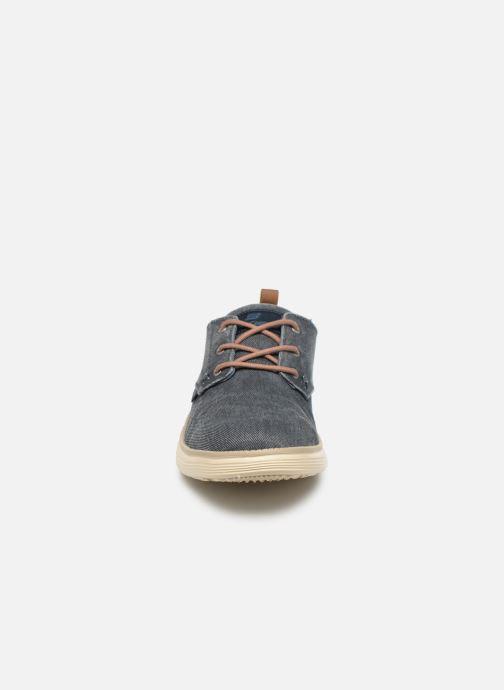 Schnürschuhe Skechers Status 2.0 Pexton blau schuhe getragen