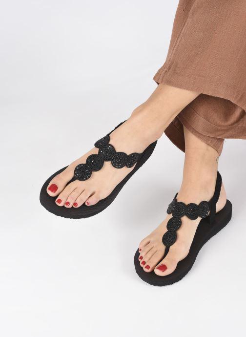 Sandales et nu-pieds Skechers Mediatation Stars & Sparkle Noir vue bas / vue portée sac