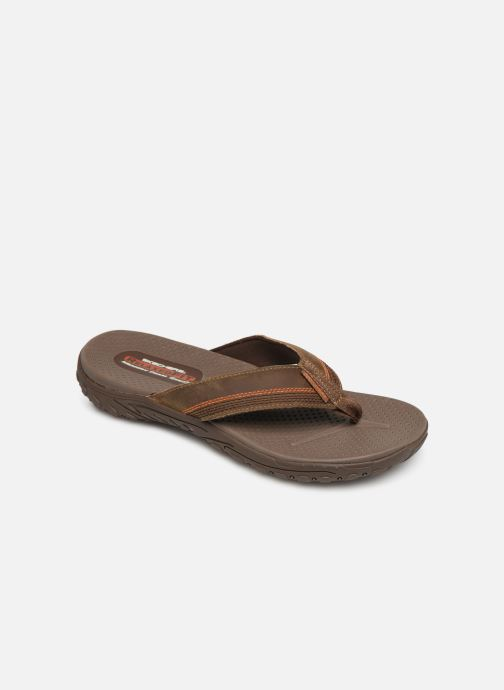Flip flops Skechers Reggae Cobano Brown detailed view/ Pair view
