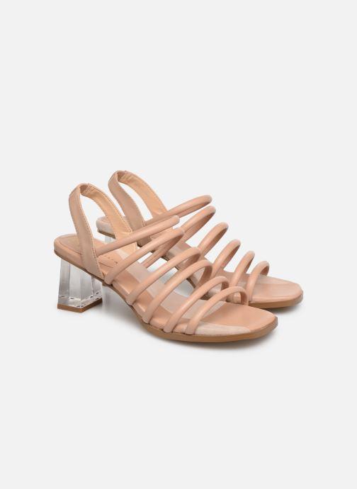 Sandals E8 by Miista CLARISA Beige 3/4 view