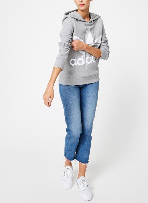 Vêtements adidas originals Sweat-Shirt à capuche Trefoil Gris vue bas / vue portée sac