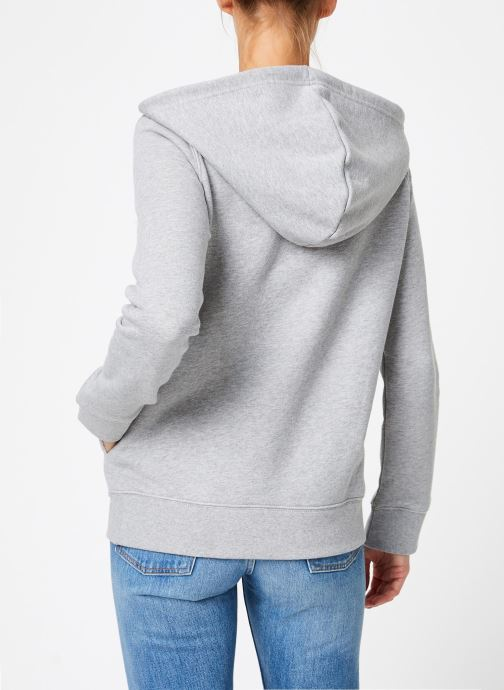Vêtements adidas originals Sweat-Shirt à capuche Trefoil Gris vue portées chaussures