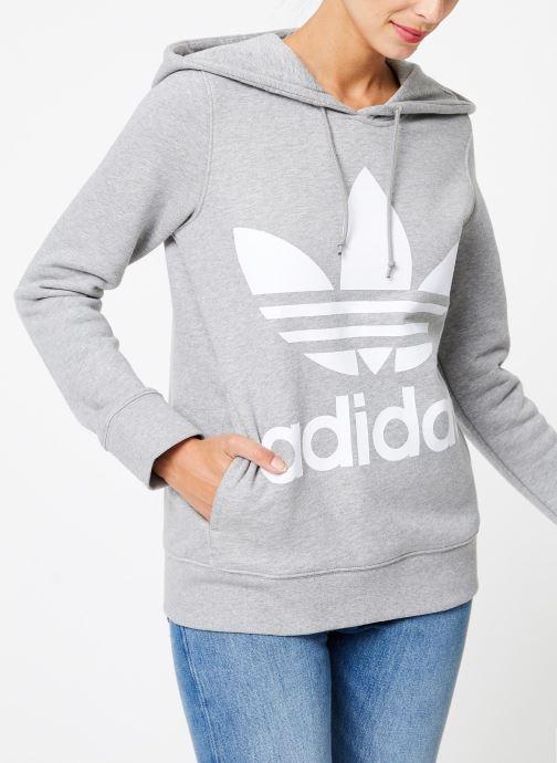 Vêtements adidas originals Sweat-Shirt à capuche Trefoil Gris vue droite