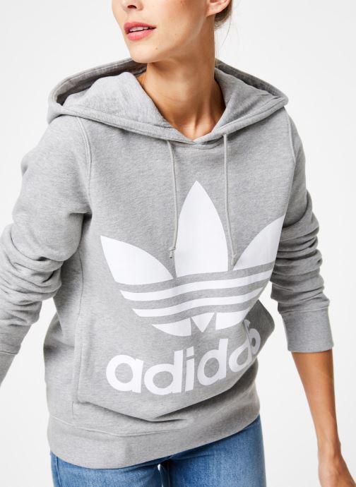 Vêtements adidas originals Sweat-Shirt à capuche Trefoil Gris vue détail/paire