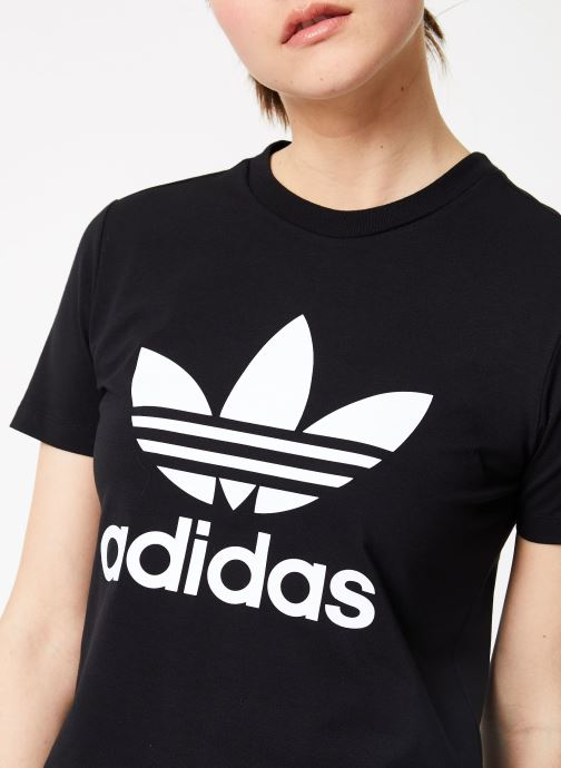 Vêtements adidas originals Trefoil Tee Noir vue face