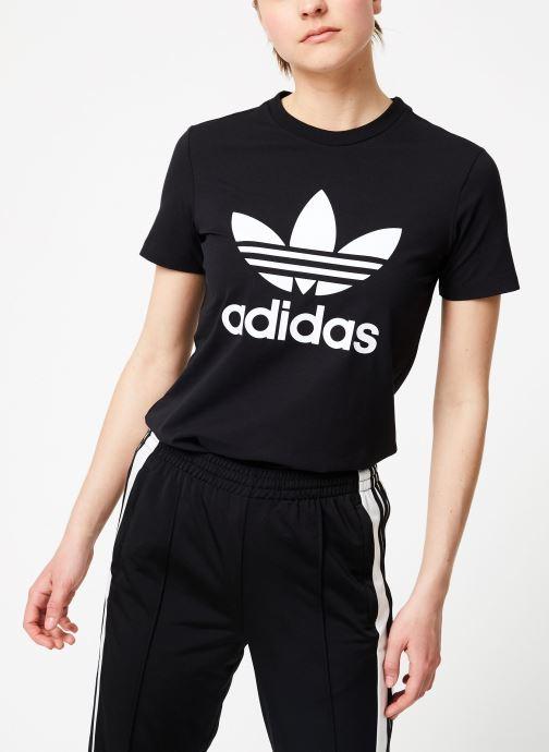 Vêtements adidas originals Trefoil Tee Noir vue droite