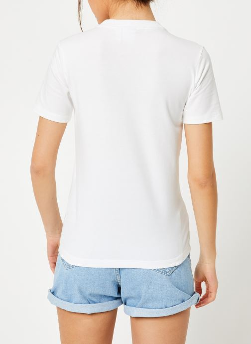 Vêtements adidas originals Trefoil Tee Blanc vue portées chaussures