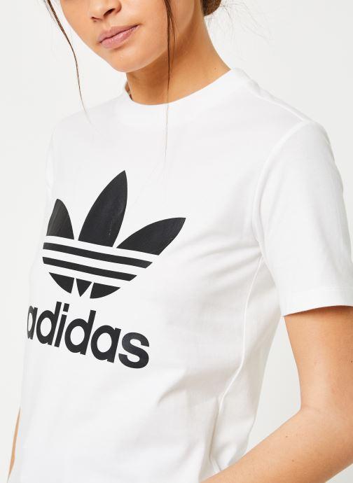 Vêtements adidas originals Trefoil Tee Blanc vue face