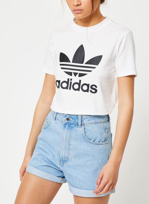 Vêtements adidas originals Trefoil Tee Blanc vue droite