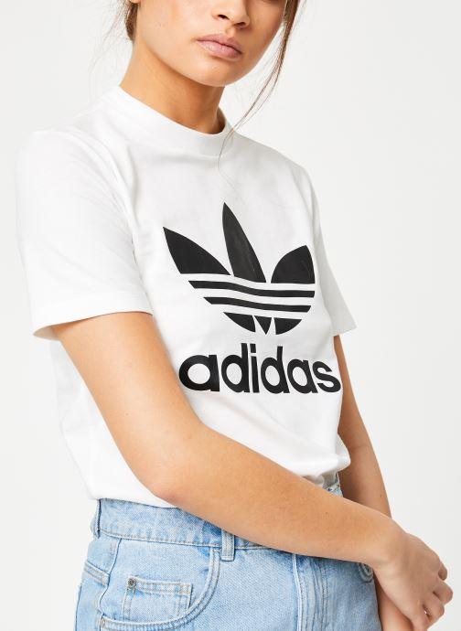 Vêtements adidas originals Trefoil Tee Blanc vue détail/paire