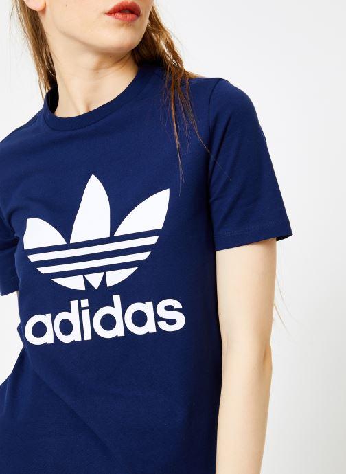 Vêtements adidas originals Trefoil Tee Bleu vue face