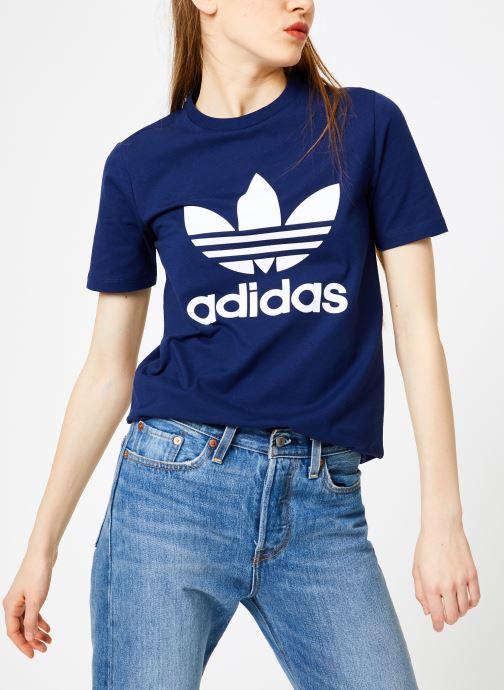 Vêtements adidas originals Trefoil Tee Bleu vue droite