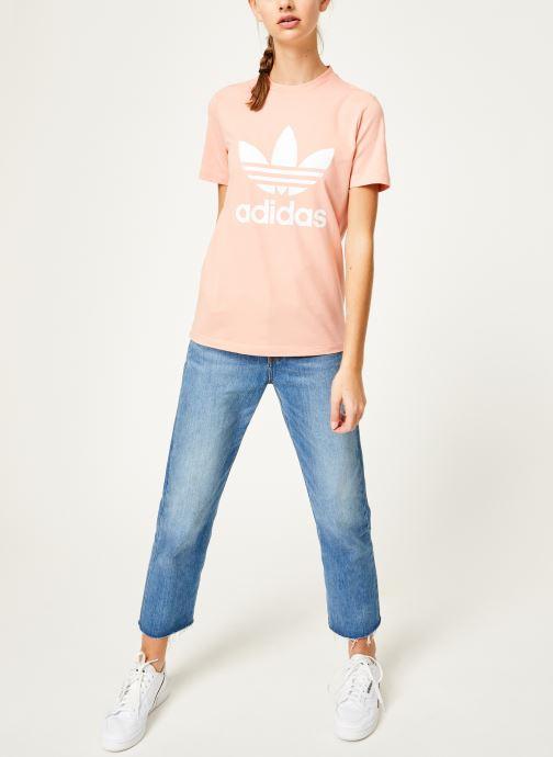 Vêtements adidas originals Trefoil Tee Rose vue bas / vue portée sac
