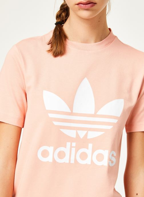 Kleding adidas originals Trefoil Tee Roze voorkant
