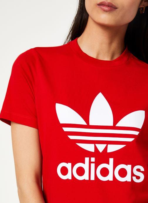 Vêtements adidas originals Trefoil Tee Rouge vue face