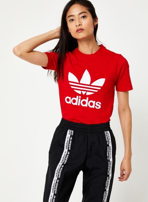 Vêtements adidas originals Trefoil Tee Rouge vue droite