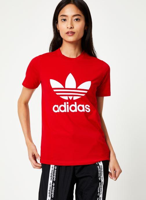 Vêtements adidas originals Trefoil Tee Rouge vue détail/paire