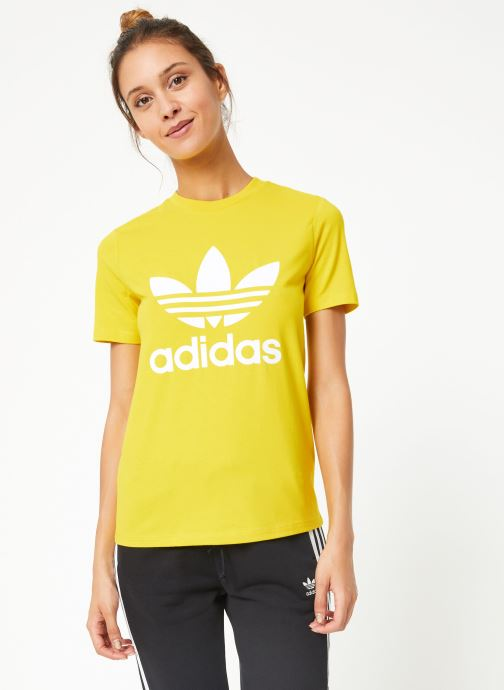 Vêtements adidas originals Trefoil Tee Jaune vue droite