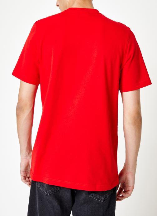 Vêtements adidas originals Trefoil T-Shirt Rouge vue portées chaussures