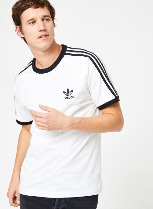 Vêtements adidas originals 3-Stripes Tee Blanc vue détail/paire
