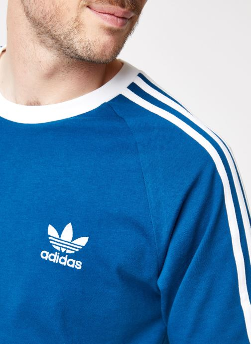 Vêtements adidas originals 3-Stripes Tee Bleu vue face