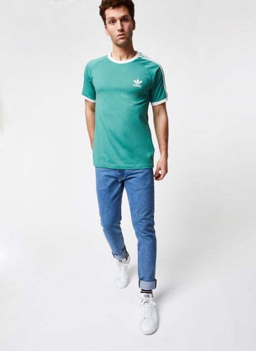 Vêtements adidas originals 3-Stripes Tee Vert vue bas / vue portée sac