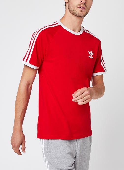 Vêtements adidas originals 3-Stripes Tee Rouge vue détail/paire