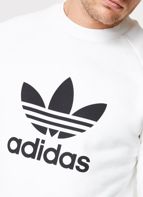 Vêtements adidas originals Trefoil Crew Blanc vue face