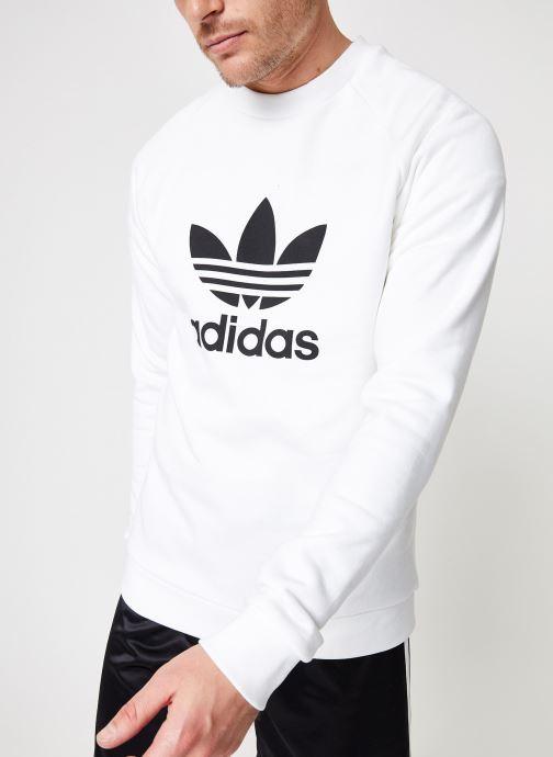 Vêtements adidas originals Trefoil Crew Blanc vue détail/paire
