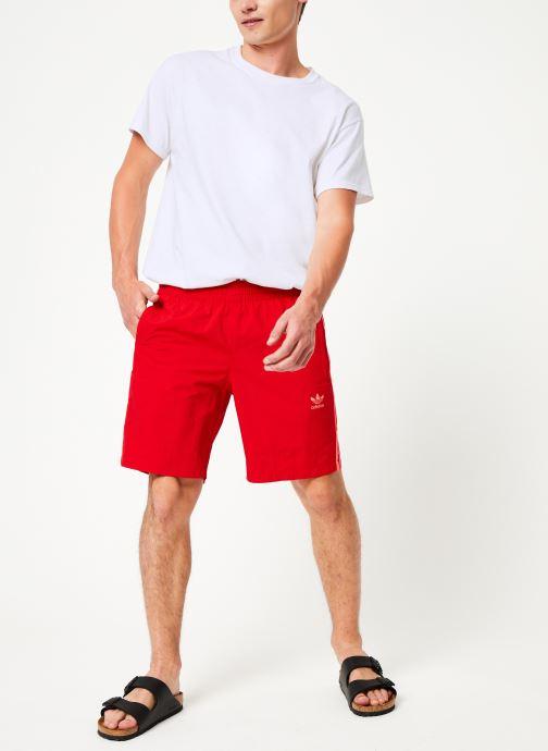 Vêtements adidas originals 3-Stripes Swim Rouge vue bas / vue portée sac