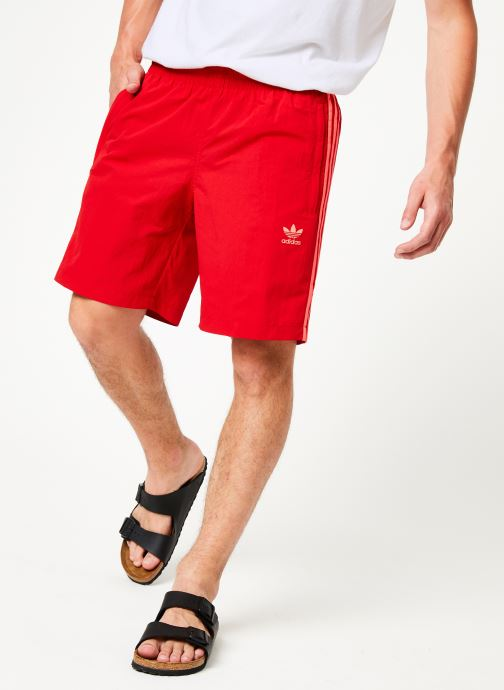 Vêtements adidas originals 3-Stripes Swim Rouge vue détail/paire