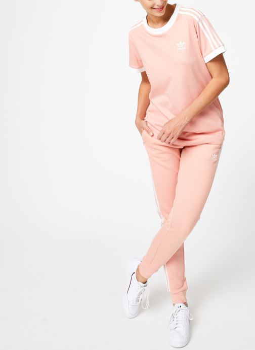 Vêtements adidas originals 3 Stripes Tee Rose vue bas / vue portée sac