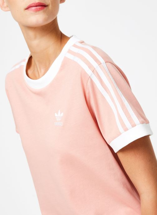 Vêtements adidas originals 3 Stripes Tee Rose vue face