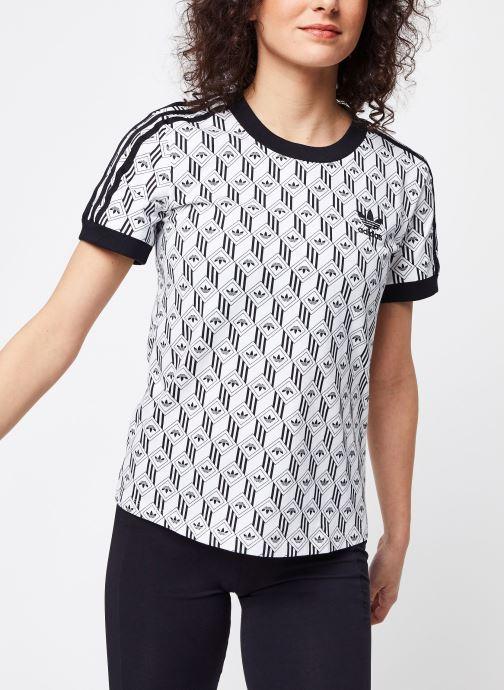 Vêtements adidas originals 3 Stripes Tee Blanc vue détail/paire