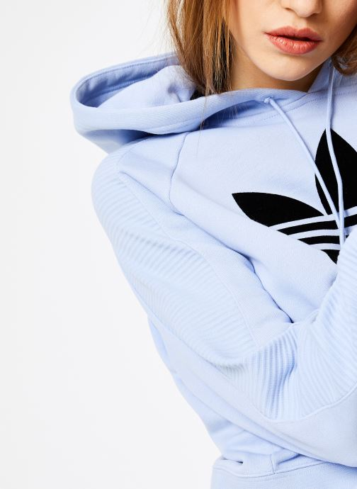 Vêtements adidas originals Cropped Hoodie Bleu vue face